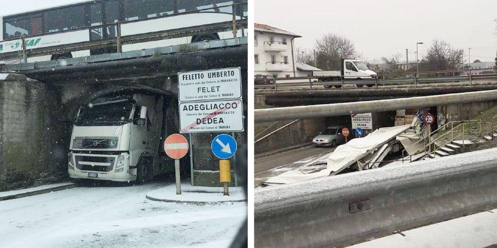Tavagnacco, camion incastrato nel sottopasso