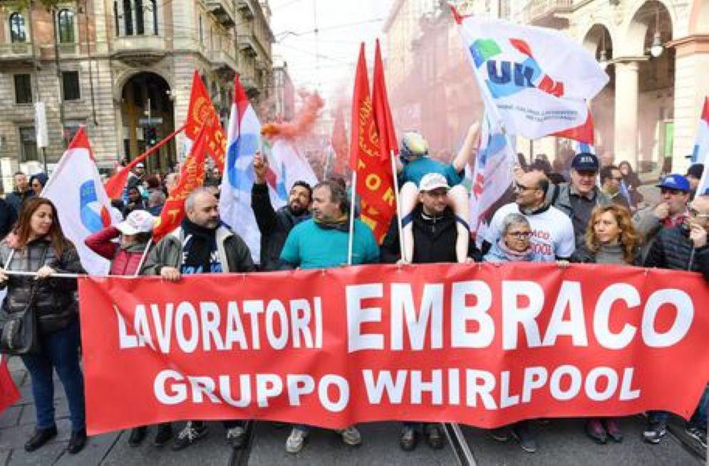 I lavoratori Embraco in manifestazione