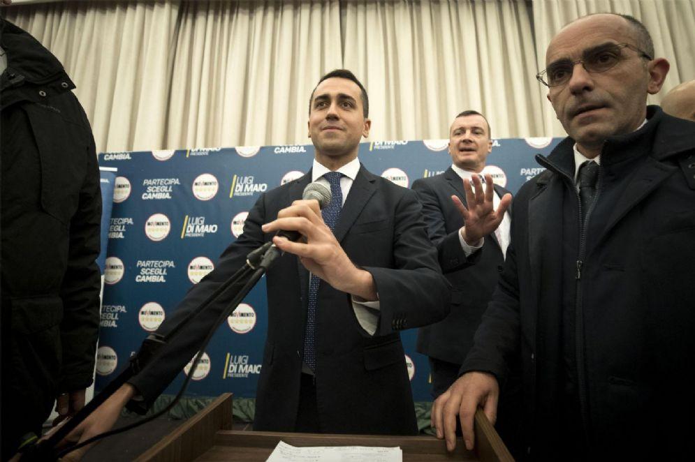 Il candidato premier del M5s, Luigi Di Maio, nella prima conferenza stampa post voto