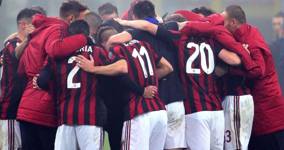 Un momento di gioia della squadra rossonera