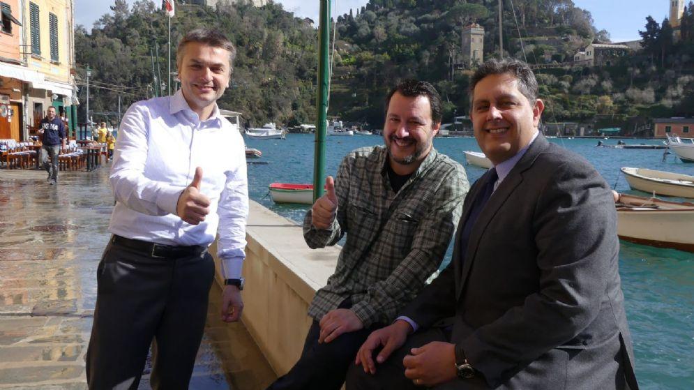 Matteo Salvini con Giovanni Toti e Edoardo Rixi a Portofino