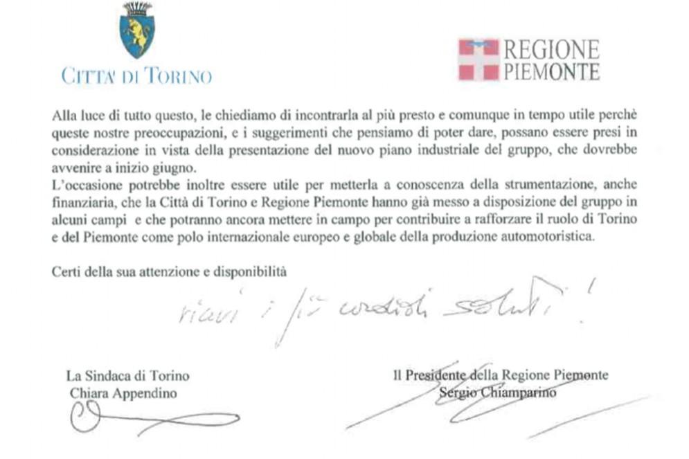 La lettera firmata da Appendino e Chiamparino