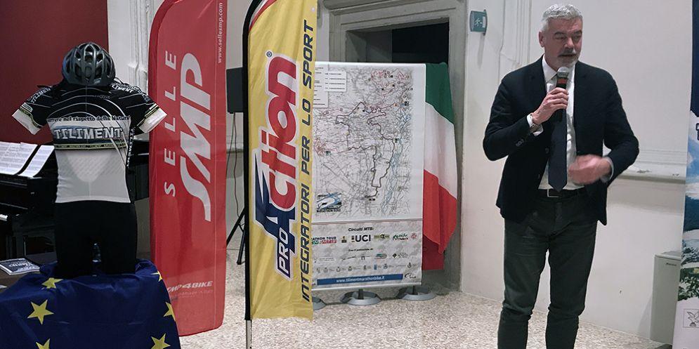 Paolo Panontin alla cerimonia di presentazione della 10a edizione della Tiliment marathon bike in programma a Spilimbergo il 21 e 22 aprile 2018