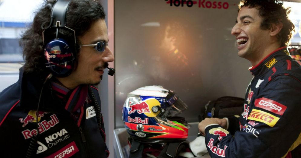 Laurent Mekies con Daniel Ricciardo ai tempi in cui lavorava alla Toro Rosso
