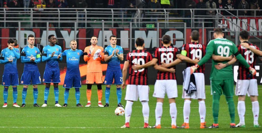 Milan e Arsenal schierate a centrocampo nel match d'andata