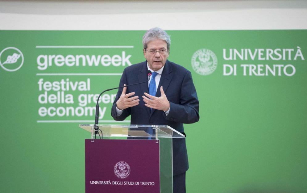 Il presidente del Consiglio Paolo Gentiloni al Green Week Festival di Trento