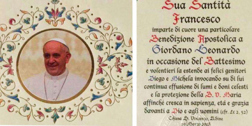 Una pergamena di Papa Francesco per il battesimo del piccolo Leonardo