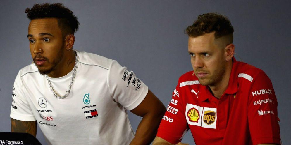 Lewis Hamilton e Sebastian Vettel nella conferenza stampa del GP d'Australia