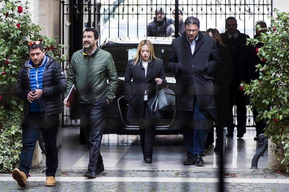 Matteo Salvini e Giorgia Meloni a palazzo Grazioli