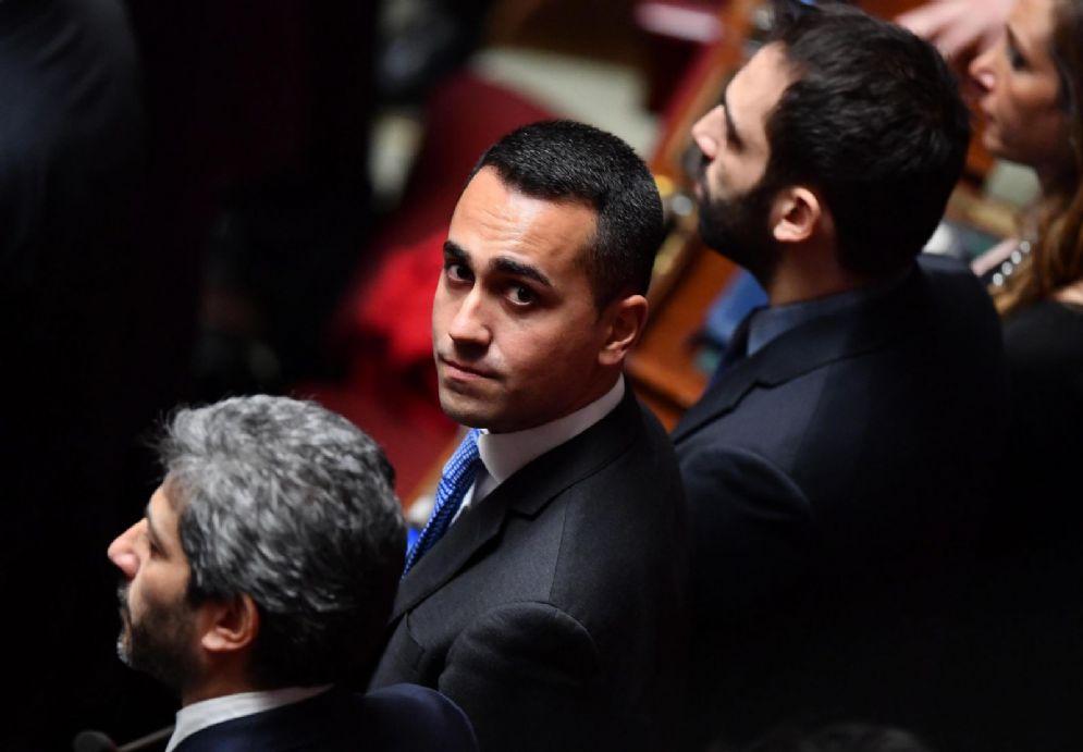 Il capo politico M5S Luigi Di Maio con Roberto Fico nell'Aula della Camera
