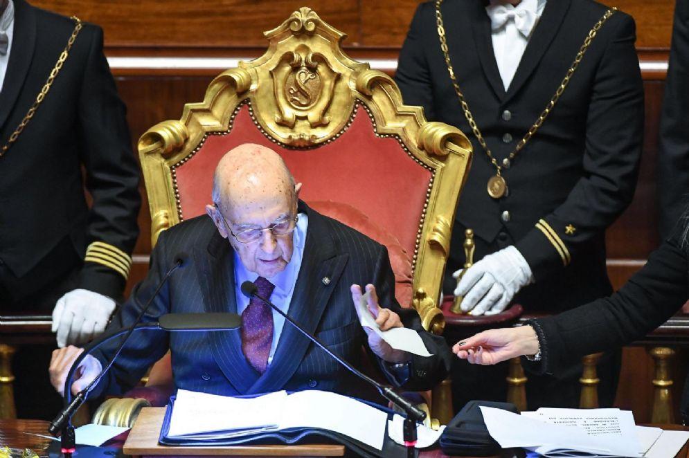 Giorgio Napolitano durante la prima sessione della 18esima legislatura
