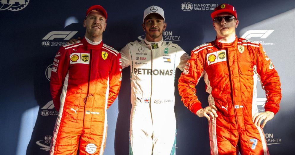 Il podio delle qualifiche del GP d'Australia: Lewis Hamilton, Kimi Raikkonen e Sebastian Vettel