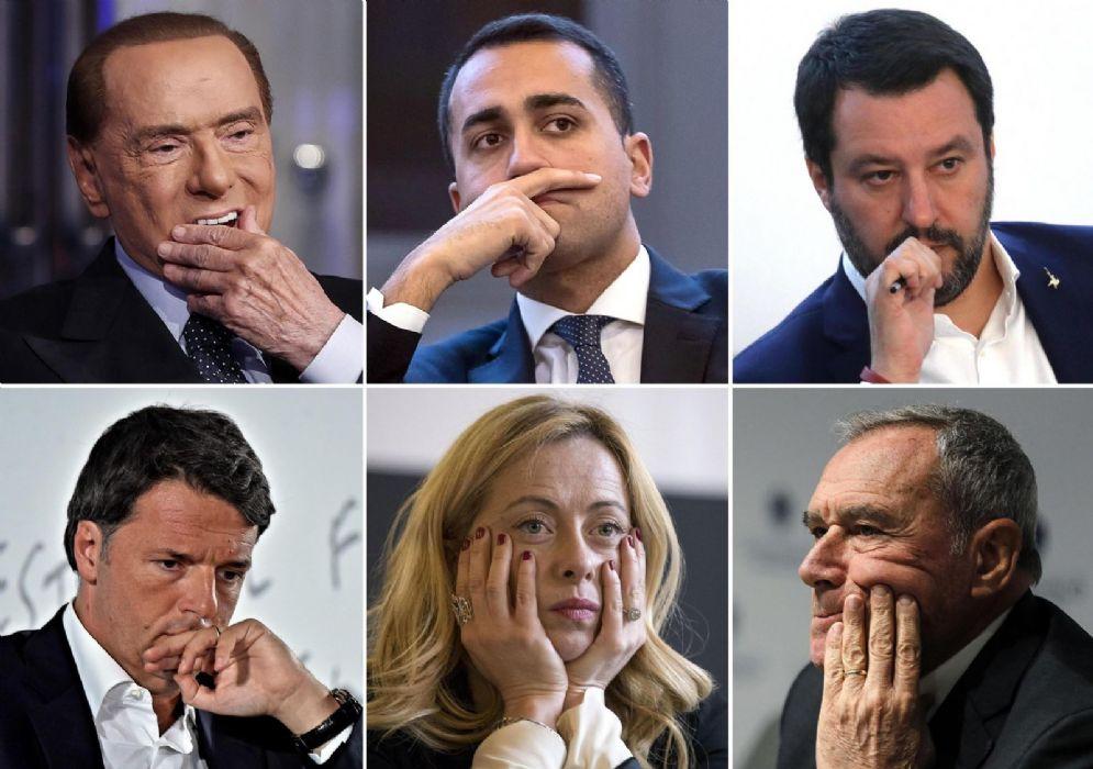 Dall'alto a sinistra Silvio Berlusconi, Luigi Di Maio, Matteo Salvini, Matteo Renzi, Giorgia Meloni e Pietro Grasso