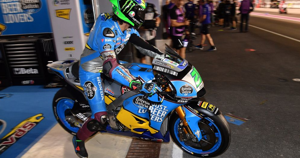 Franco Morbidelli esce dai box del team Marc Vds Honda in Qatar