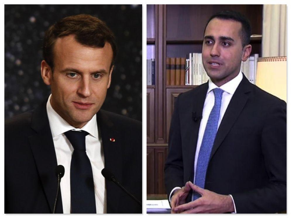 Il presidente francese Emmanuel Macron e il leader del Movimento Cinque Stelle Luigi Di Maio
