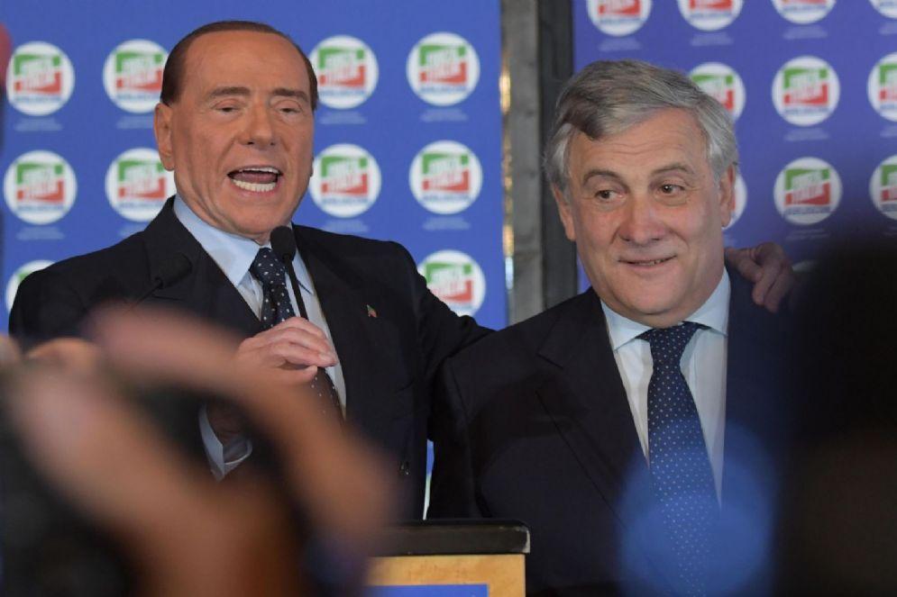 Il leader di Forza Italia Silvio Berlusconi con Antonio Tajani