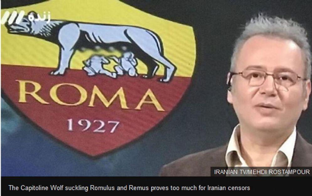 Il logo della Roma censurato dalla tv di stato iraniana