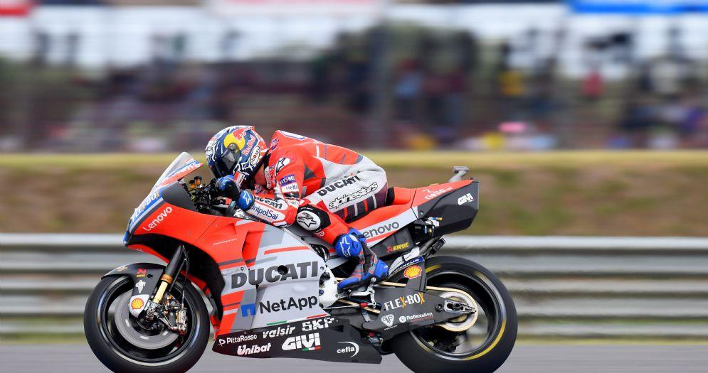 La Ducati di Andrea Dovizioso in pista durante le prove libere del GP d'Argentina di MotoGP