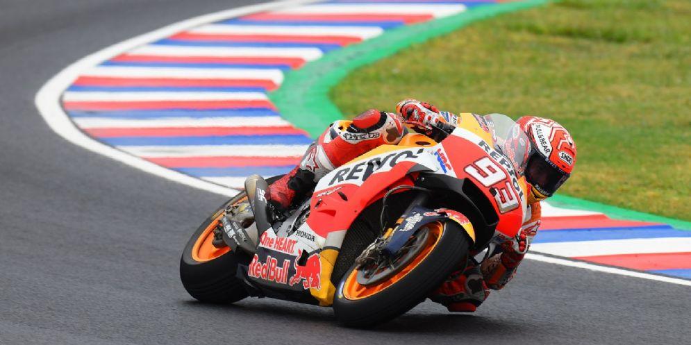 Marc Marquez in sella alla sua Honda durante il Gran Premio d'Argentina di MotoGP