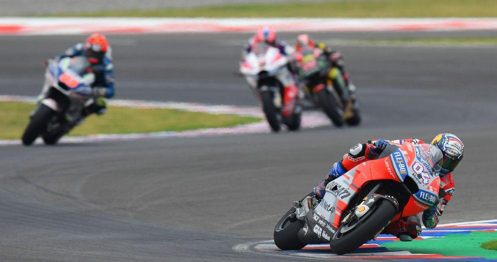La Ducati di Andrea Dovizioso in gara durante il GP d'Argentina di MotoGP