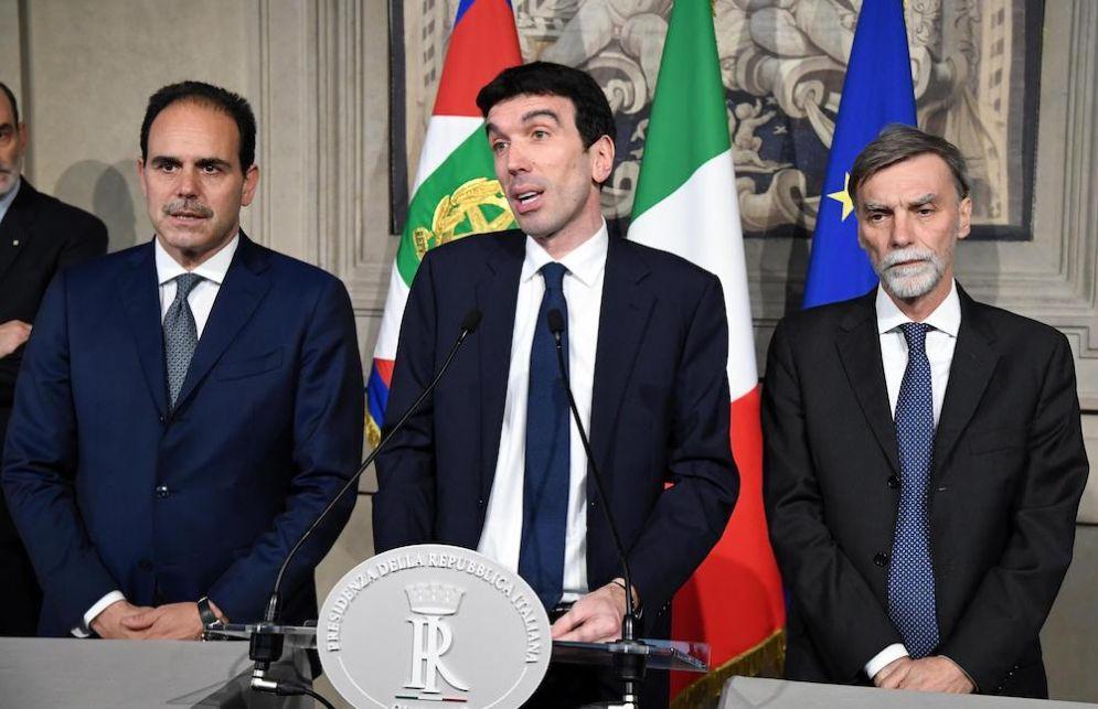 Maurizio Martina con Andrea Marcucci e Graziano Delrio alle consultazioni al Colle.