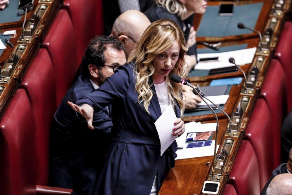 La leader di Fdi, Giorgia Meloni, nell'Aula della Camera nel corso del dibattito sulla Siria, Roma 17 aprile 2018.