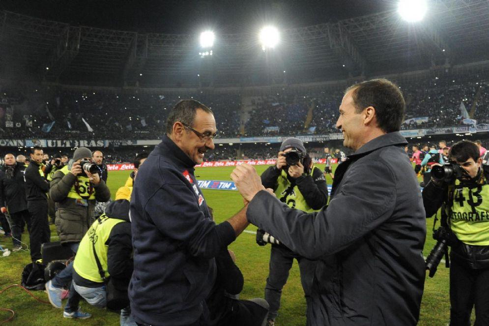 Maurizio Sarri e Massimiliano Allegri: Napoli e Juventus si apprestano a giocarsi lo scudetto nello scontro diretto di domenica a Torino