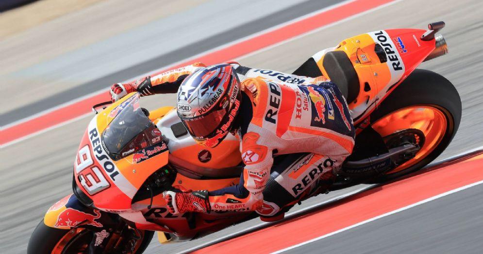 Marc Marquez in sella alla sua Honda durante le prove libere del GP delle Americhe di Austin