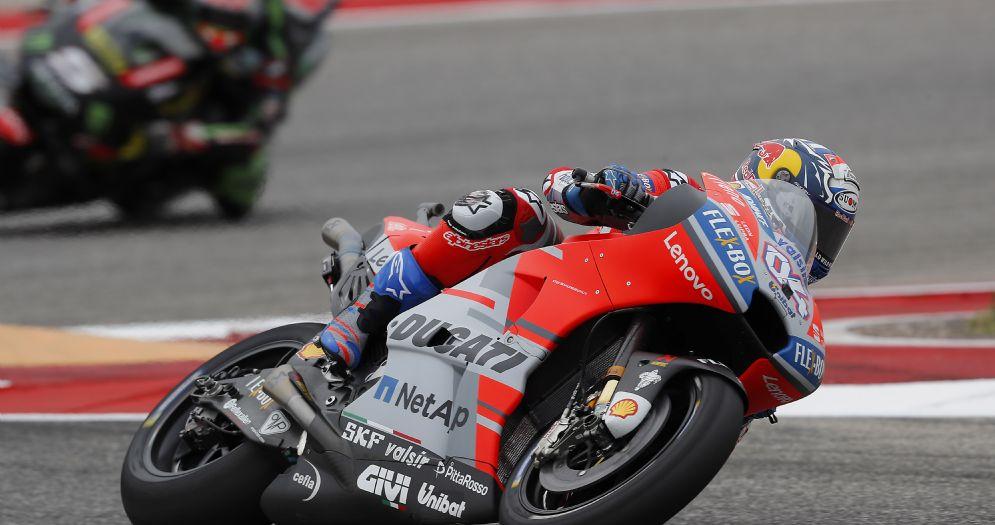 Andrea Dovizioso in sella alla Ducati nelle qualifiche del GP delle Americhe ad Austin