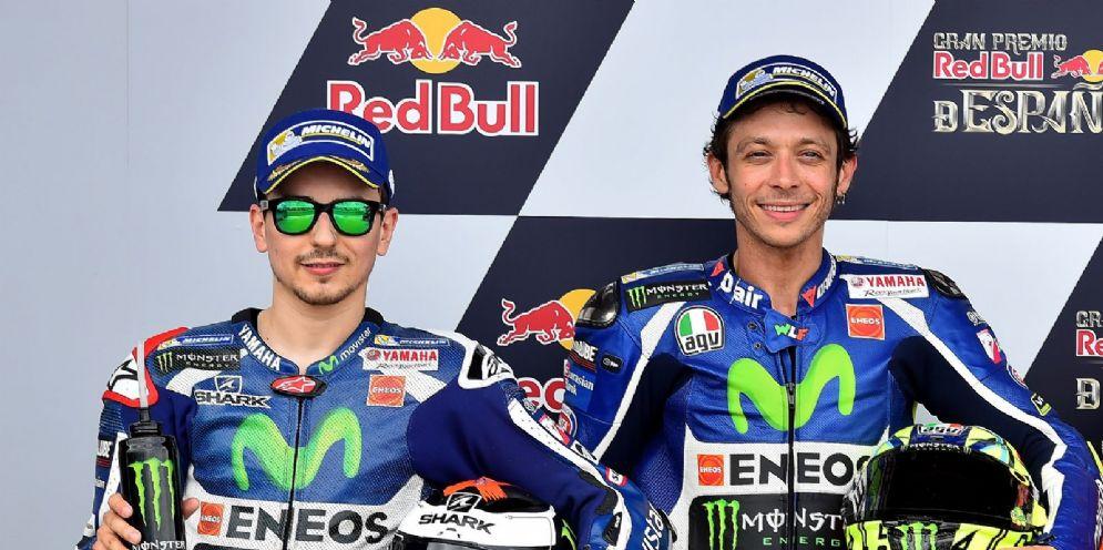 Jorge Lorenzo e Valentino Rossi ai tempi in cui erano compagni di squadra in Yamaha
