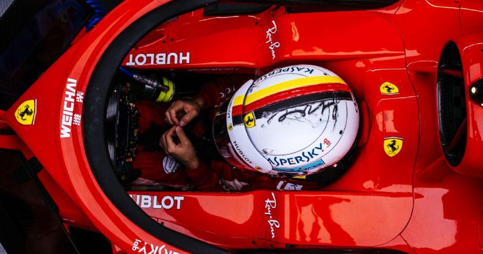 L'abitacolo della Ferrari SF71H di Sebastian Vettel