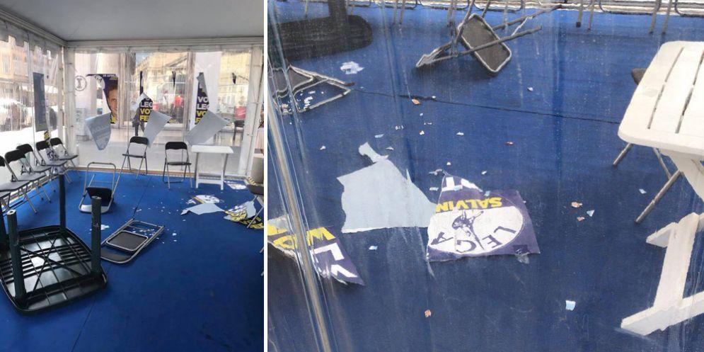 Distrutto nella notte il gazebo della Lega a Trieste: le parole di Salvini