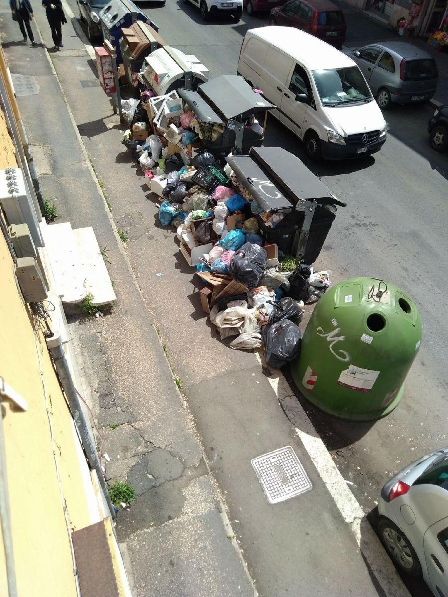 Cumuli di rifiuti vicino ai cassonetti in una delle vie del Municipio XI