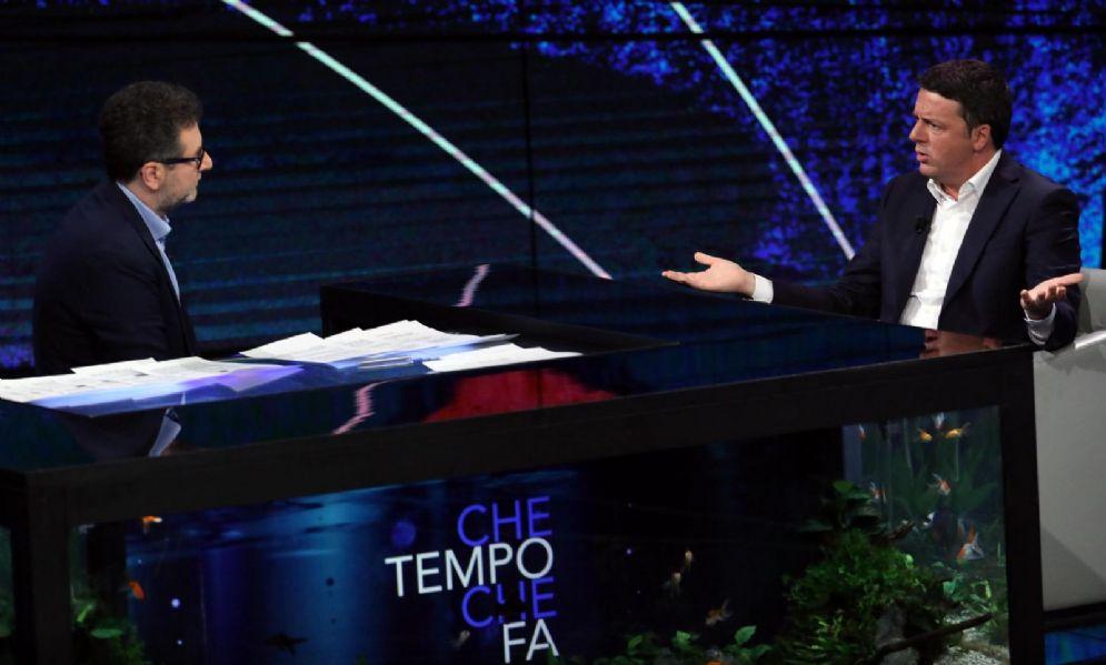 """L'ex segretario del Pd Matteo Renzi ospite a """"Che tempo che fa"""" con Fabio Fazio"""