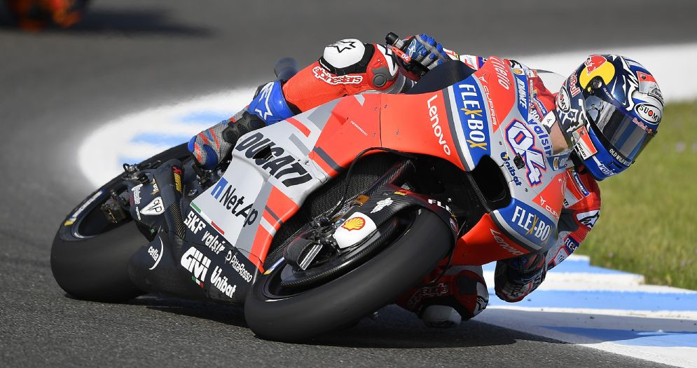 Andrea Dovizioso in sella alla Ducati nelle prove libere del GP di Spagna di MotoGP a Jerez
