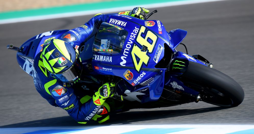 Valentino Rossi in pista con la Yamaha nelle prove libere del GP di Spagna di MotoGP a Jerez