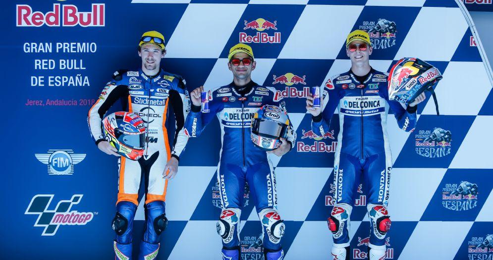 La prima fila del GP di Spagna di Moto3: Jorge Martin, Philip Oettl e Fabio Di Giannantonio