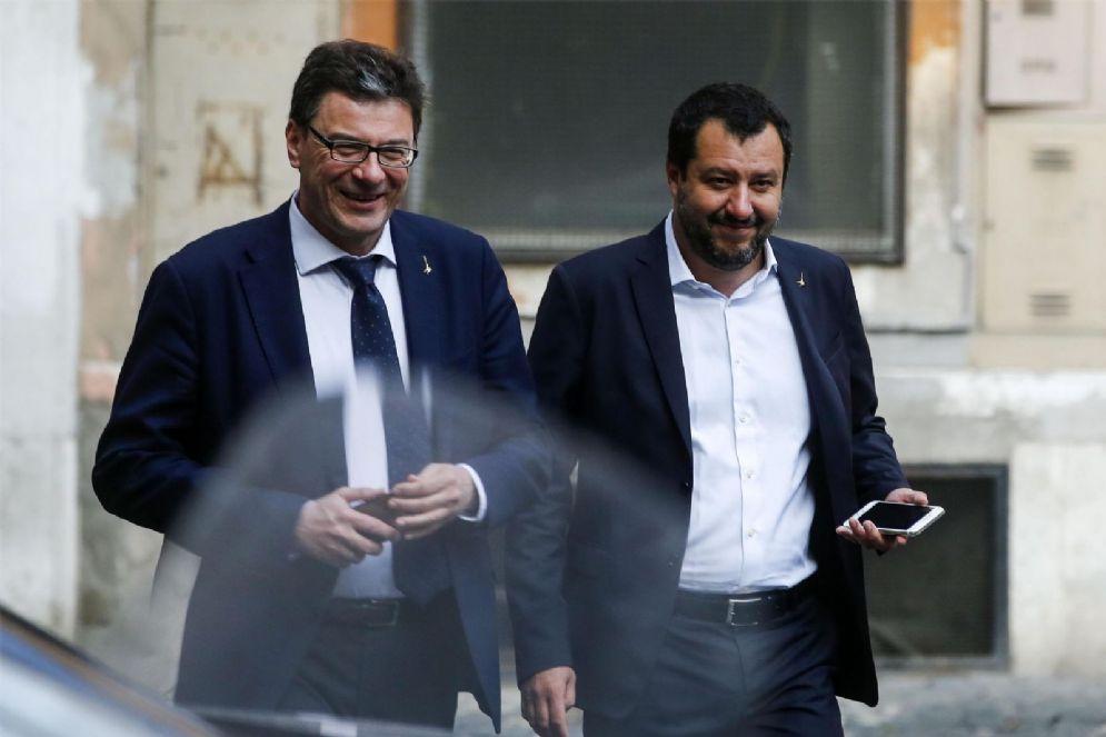 Giancarlo Giorgetti e Matteo Salvini dopo il vertice del centrodestra