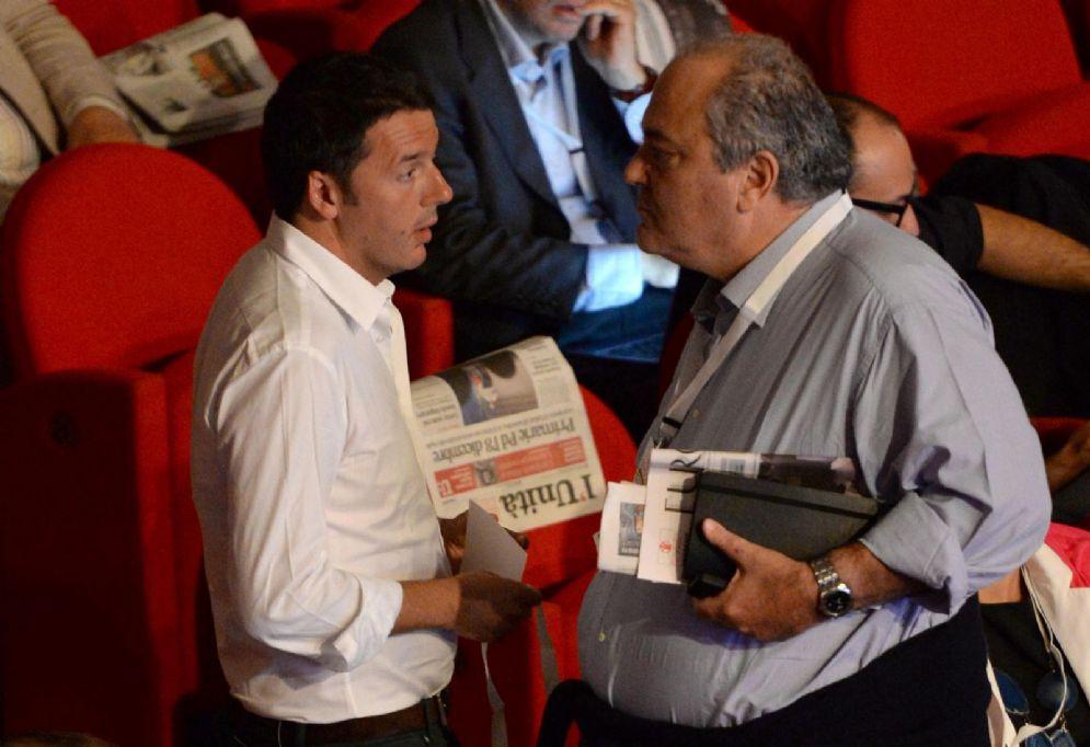 Renzi, allora sindaco di Firenze, con Goffredo Bettini. Roma, 2013