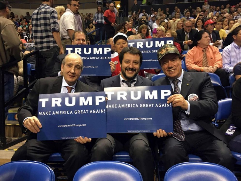 Salvini al comizio di Donald Trump a Filadelfia, 25 aprile 2016