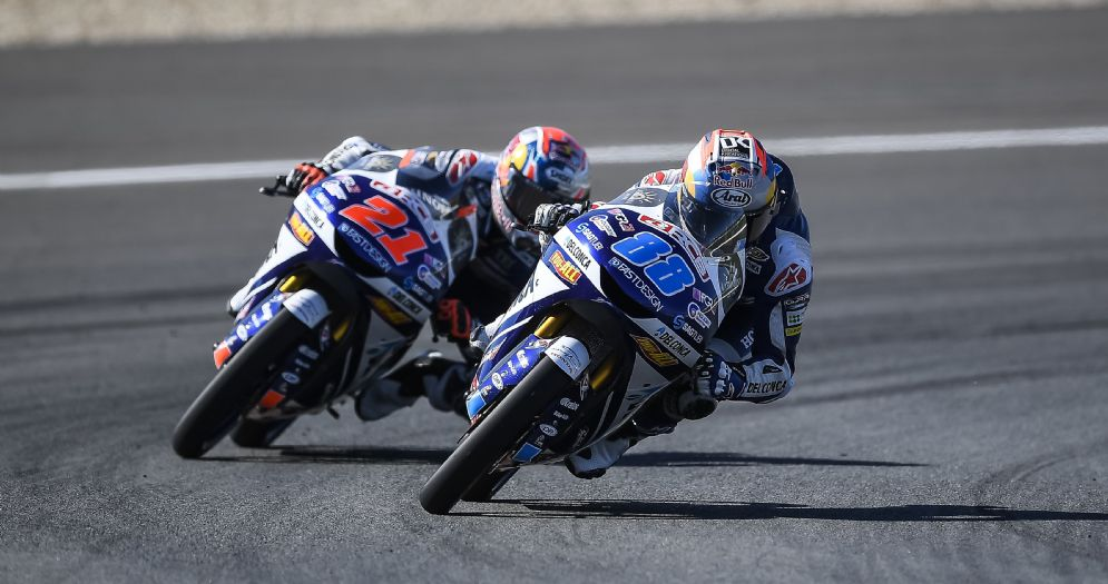 I due piloti del team Gresini, Jorge Martin e Fabio Di Giannantonio, in pista