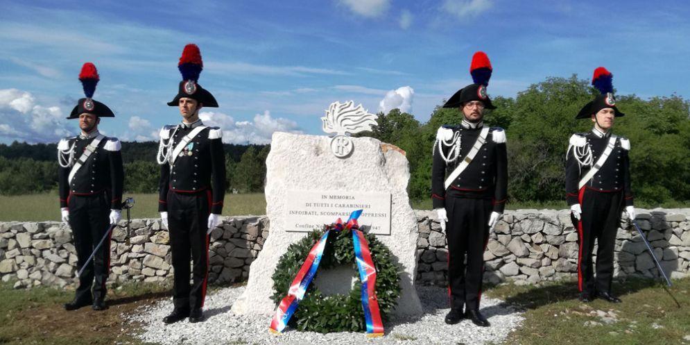 Basovizza: inaugurazione il monumento in memoria di tutti i Carabinieri infoibati