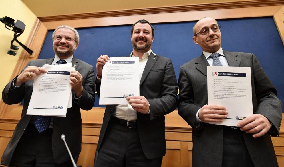 Claudio Borghi della Lega con Matteo Salvini