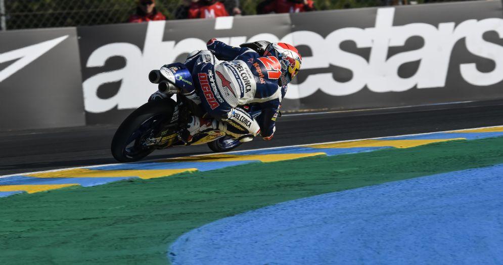 Fabio Di Giannantonio in sella alla Honda del team Gresini nelle prove libere del GP di Francia di Moto3 a Le Mans