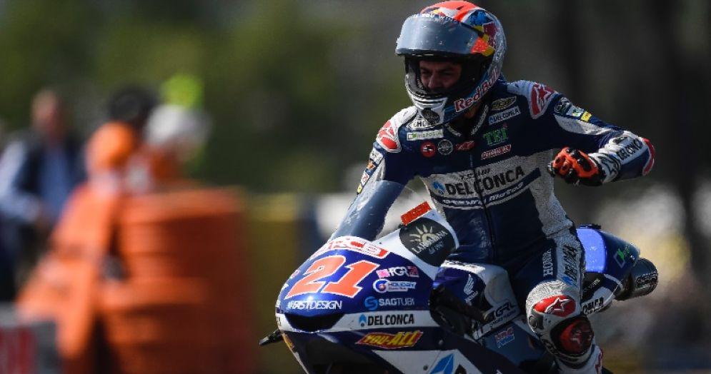 Fabio Di Giannantonio in sella alla Honda del team Gresini nel GP di Francia di Moto3 a Le Mans