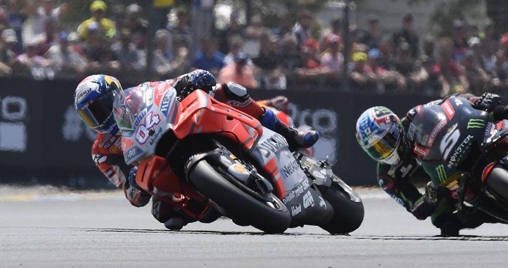 Andrea Dovizioso in sella alla Ducati nel GP di Francia di MotoGP a Le Mans