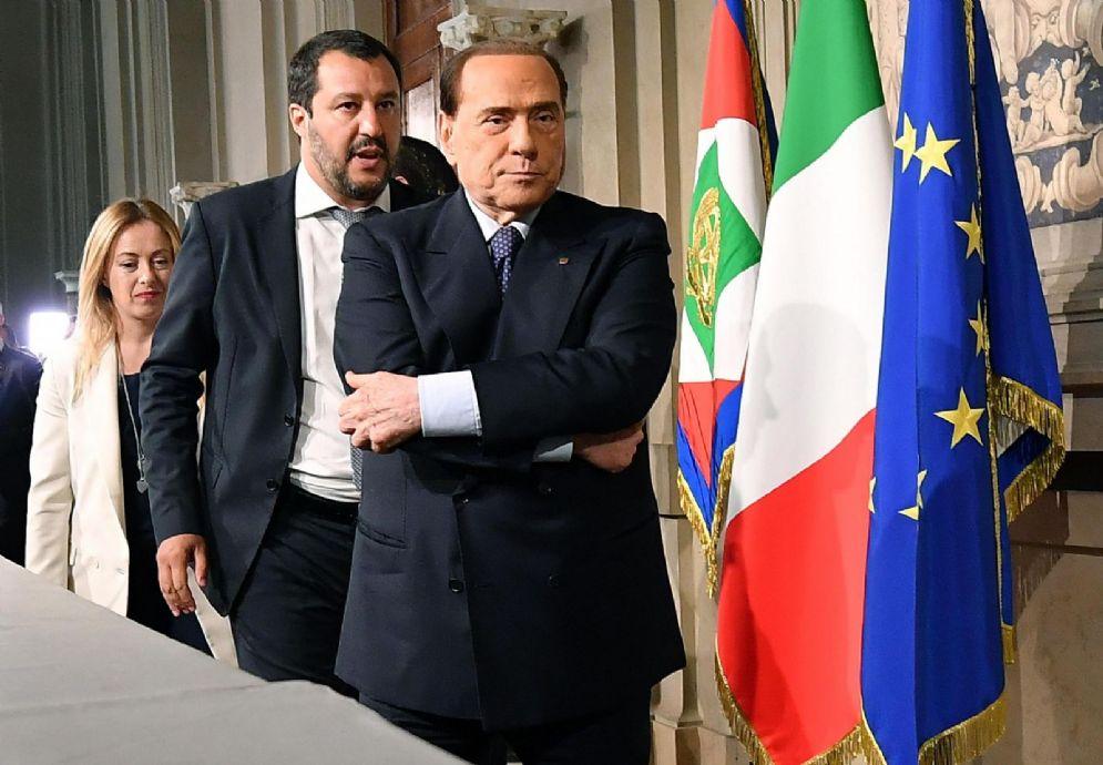 Silvio Berlusconi, Matteo Salvini e Giorgia Meloni al Quirinale