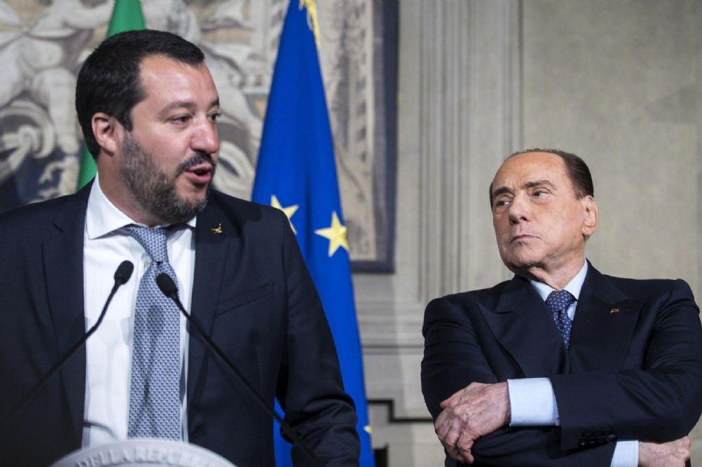 Matteo Salvini e Silvio Berlusconi al Quirinale