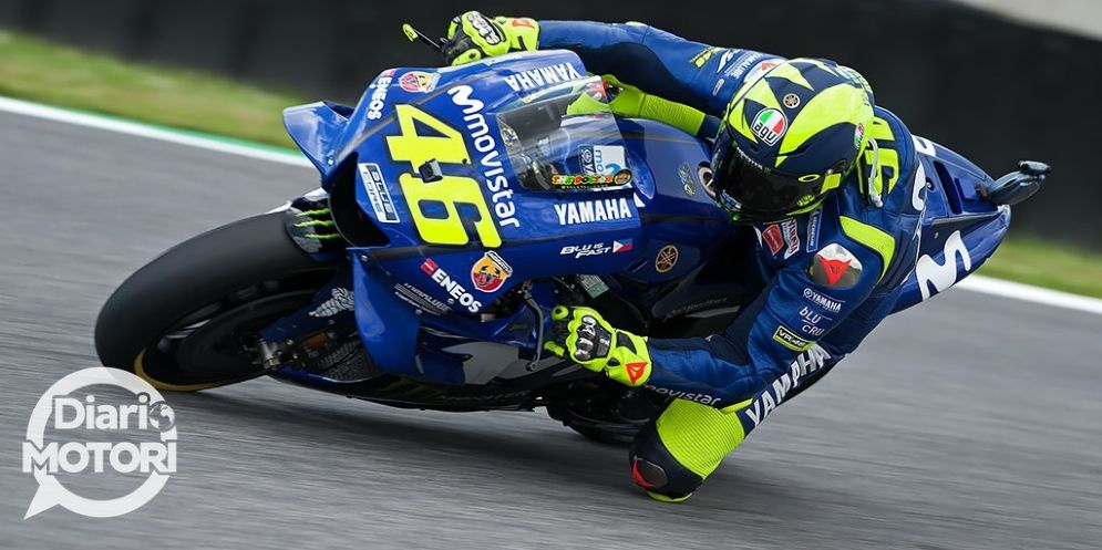 Valentino Rossi in sella alla Yamaha nelle prove libere del GP del Mugello di MotoGP