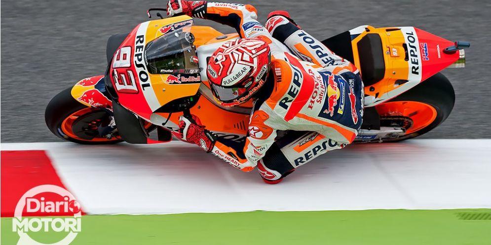 Marc Marquez in sella alla sua Honda durante il GP del Mugello di MotoGP